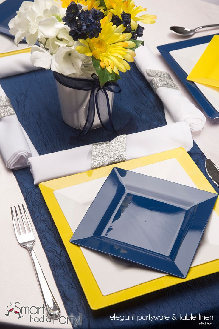 New Blue and Yellow Square Plate Place Setting.   .SmartyHadAParty.com & New Blue and Yellow Square Plate Place Setting.   www ...