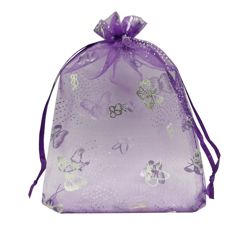 fe35a173e157 Ankirol 100pcs Sheer Organza Favor Bags Purple Butterfly Print For ...