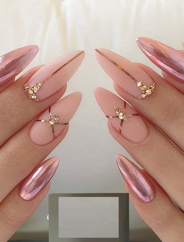 Nails Pink Gold Metallic Nail Art Nail Effects Nail Designs
