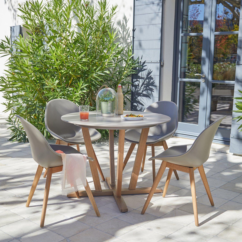 Un Salon De Jardin Au Style Scandinave Leroy Merlin Avec Images Table De Jardin Salon De Jardin Table De Jardin Ronde