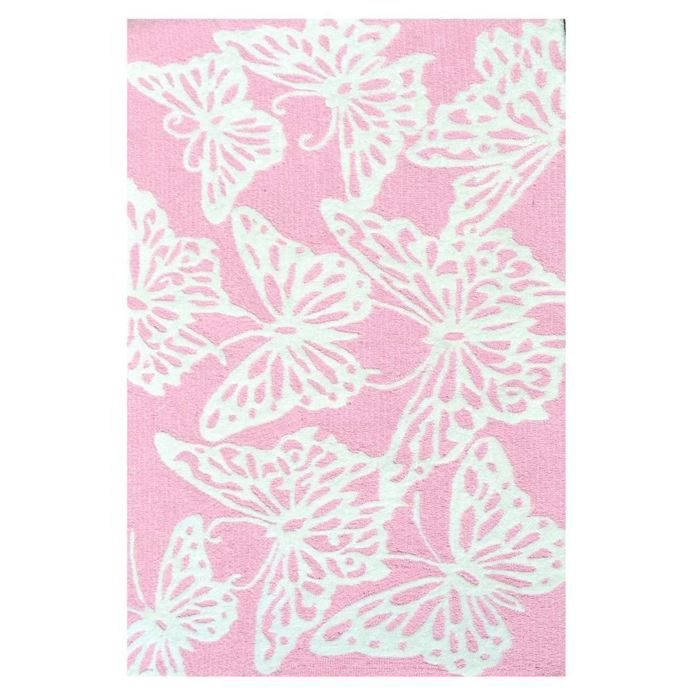 Multi Butterfly Pink 2 ft. 8 in. x 4 ft. 8 in. Indoor Area Rug