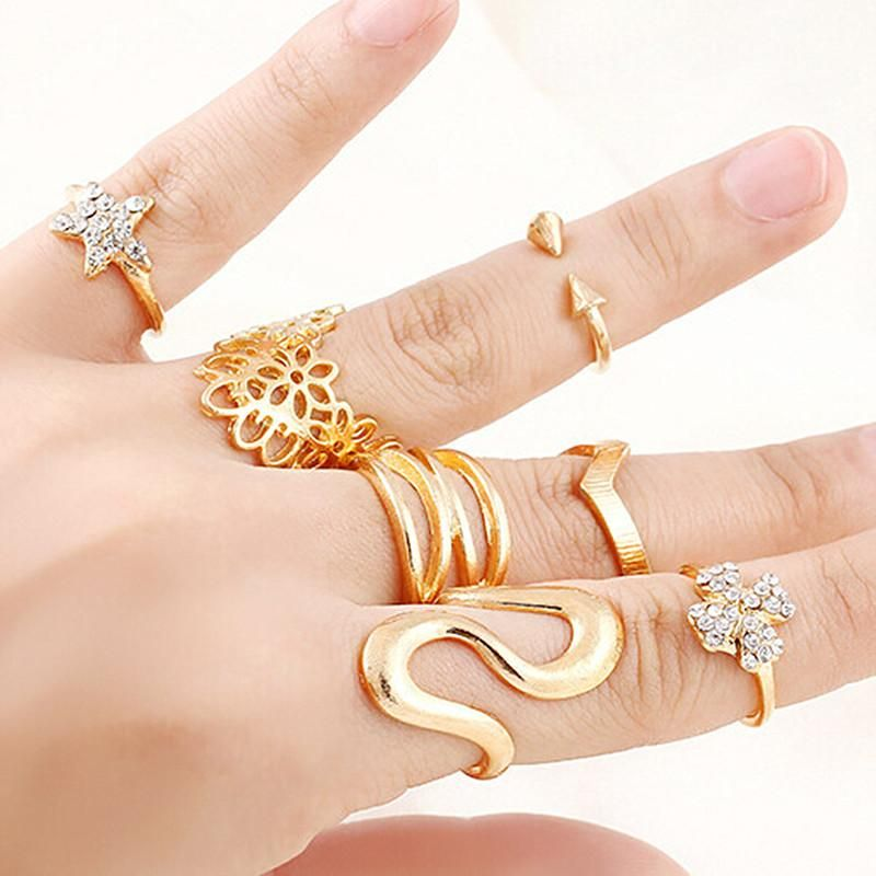R037 7pcs/set Women Finger Rings Sets Fashion Jewelry Anel Anillos Summer Tiny Crystal Flower Star Arrow Steampunk Ring 2017