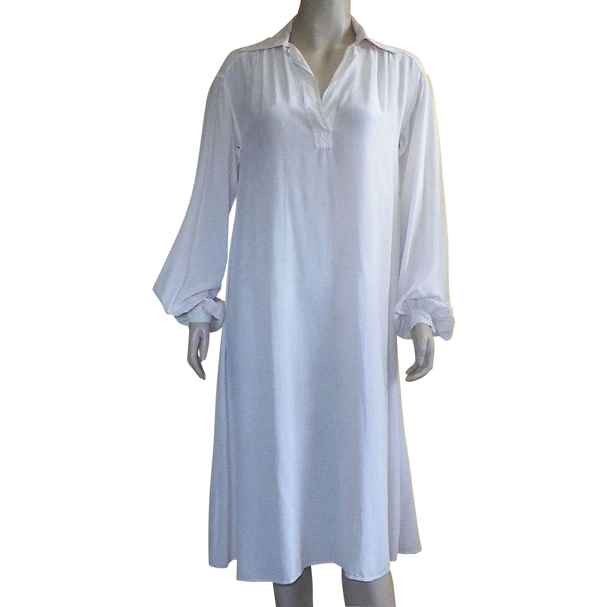 Vintage ivory silk night shirt nightgown dress ivory silk
