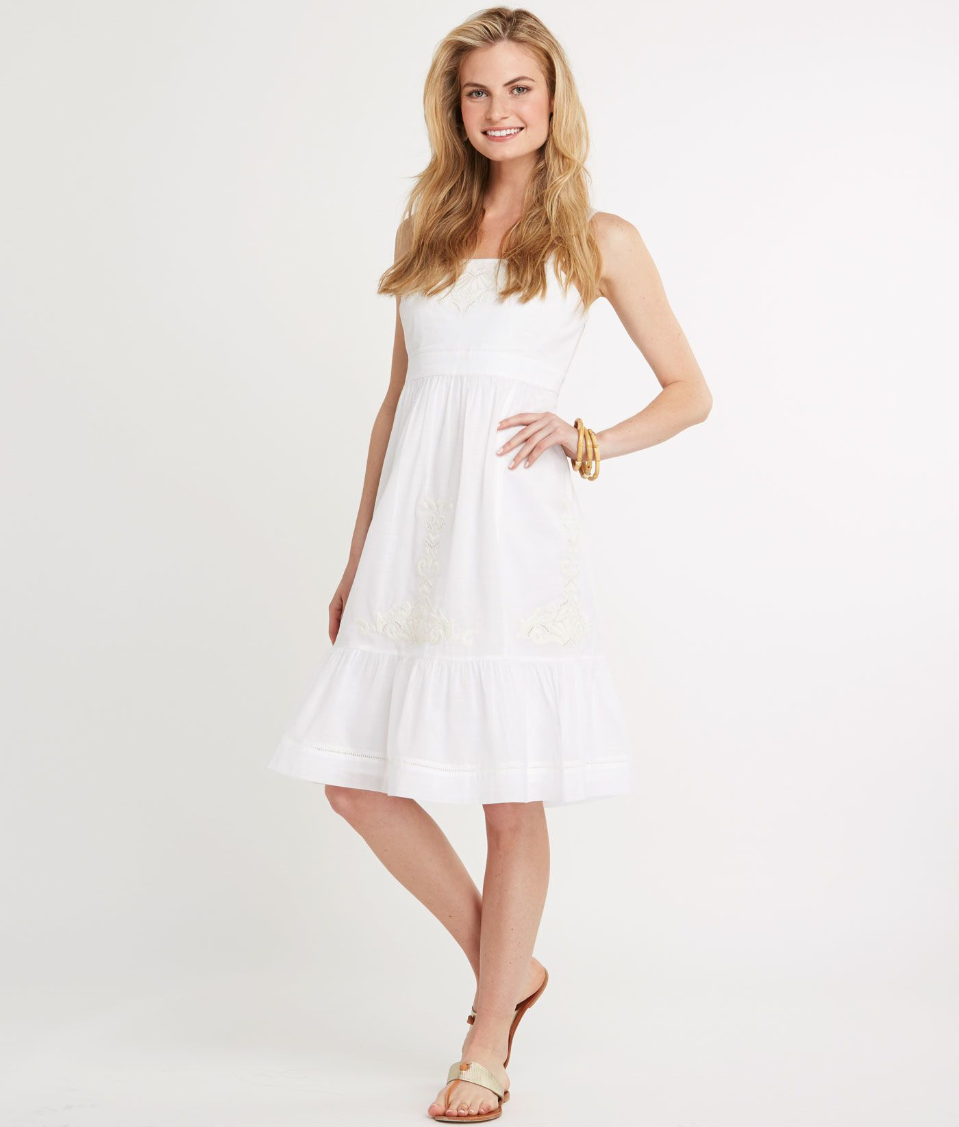 Shop Beach Embroidered Ruffle Dress At Vineyard Vines Ruffle Dress Dresses Womens Dresses [ 1646 x 1400 Pixel ]