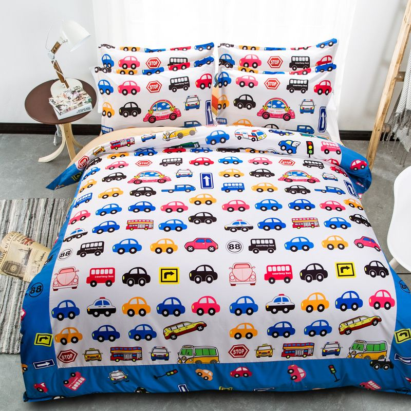 Cartoon Car Bed Spreads Colorful Comforter Duvet Quilt Cover 4 5pcs Bedding Sets Queen King Twin Double Sing Kids Bedding Sets Cotton Kids Bedding Kids Bedding