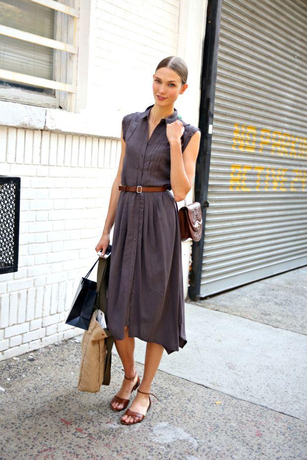 Gray sleeveless shirtdress, brown belt, brown flat sandals