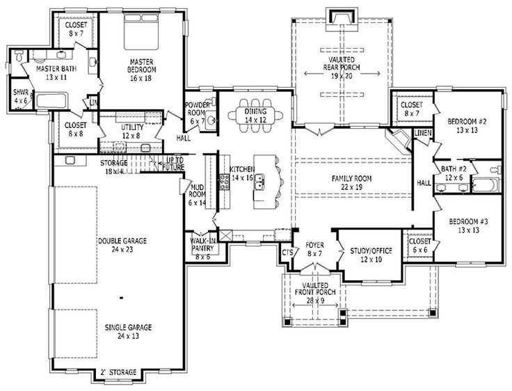 House Plan 940 00009   Craftsman Plan: 2,700 Square Feet, 3 Bedrooms, 2.5  Bathrooms | Bonus Room Office, Open Staircase And Finished Basements