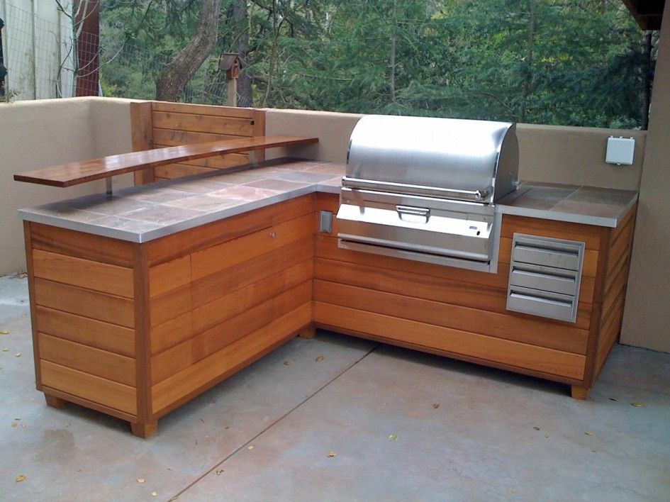Depiction of best outdoor countertop ideas kitchen for Wooden outdoor kitchen plans