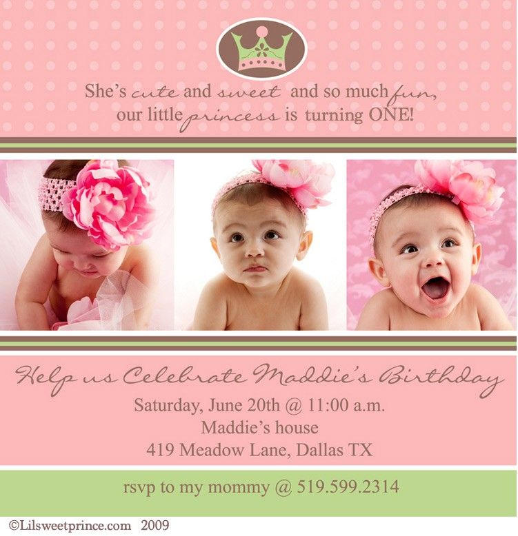 Baby Girl First 1st Birthday Photo Invitation by DesignAndLife ...