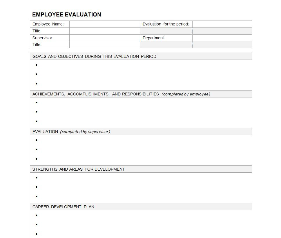 Performance Evaluation Template Human Resource – Free Printable Employee Evaluation Form