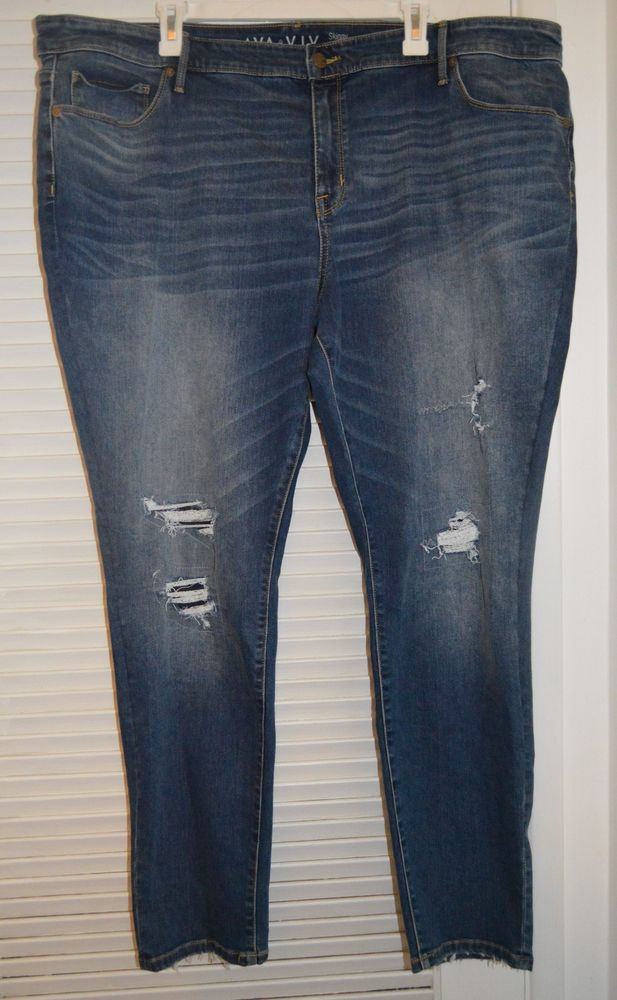 34b74110681 NEW AVA   VIV Denim Blue Jeans SKINNY Power Stretch Womens Plus 26W  DISTRESSED  AVAVIV  SlimSkinny