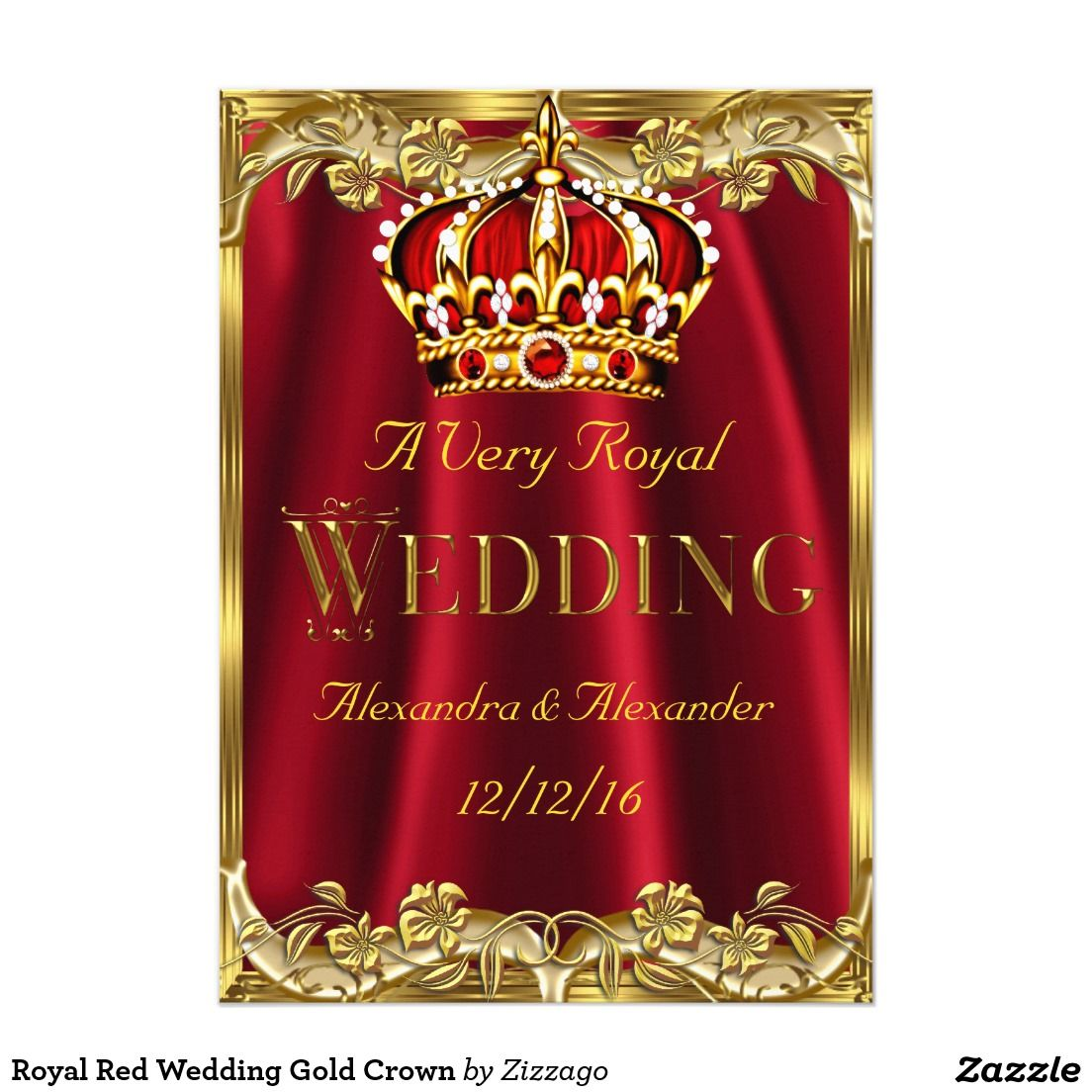 Royal Red Wedding Gold Crown Card | Red wedding, Gold weddings and ...