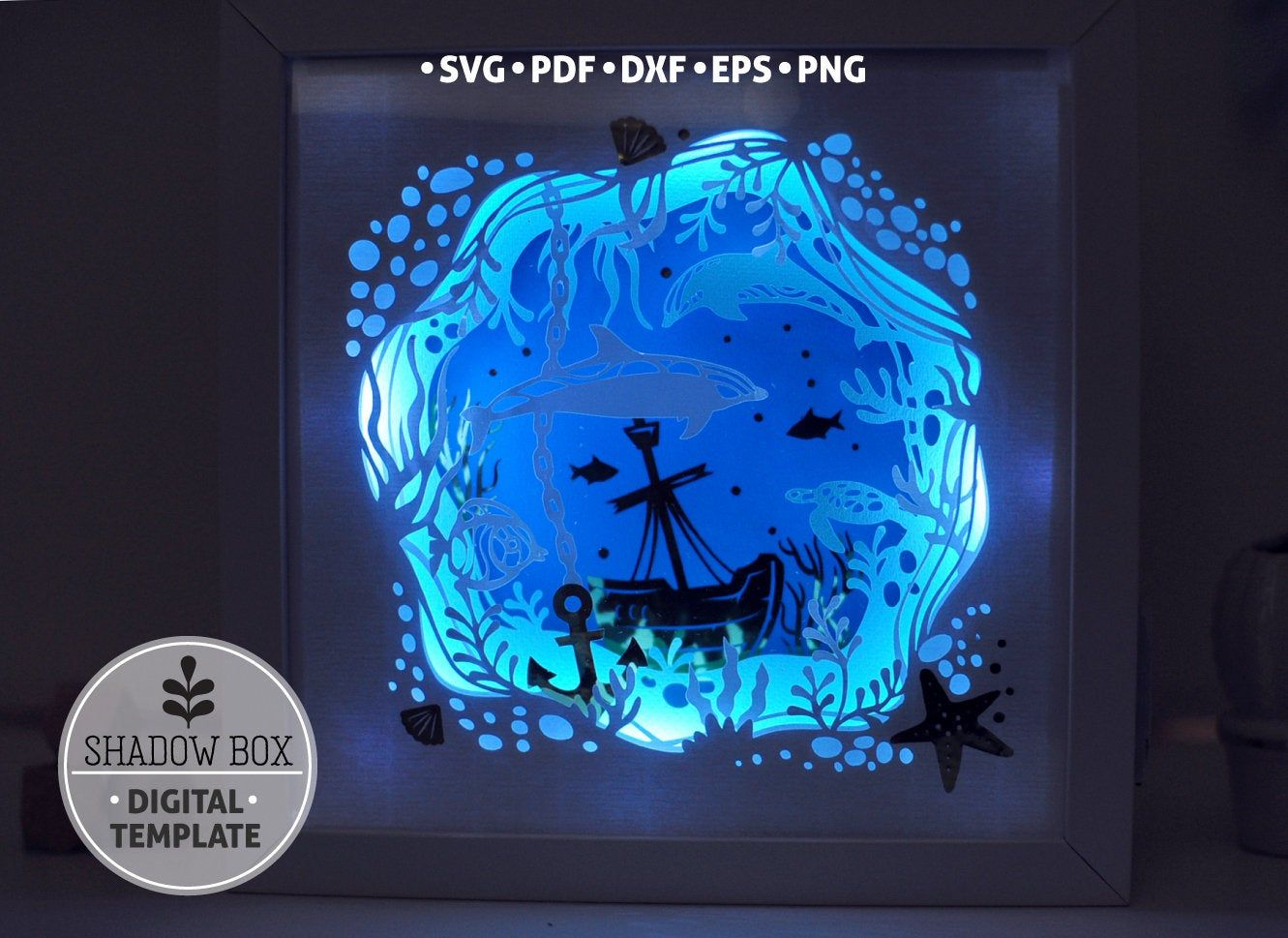 Underwater Shadow Box Svg 3d Papercut Svg Layered Paper Art Template Scroll Saw Pattern Marine Life Nautical Layered Art With Led Light Shadow Box Svg Paper Art Box Svg