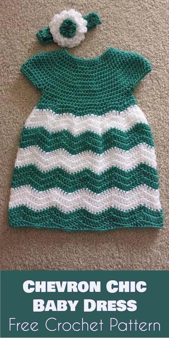 Chevron-Chic-Baby-Dress-Free-Crochet-Pattern | Babysachen, Stricken ...