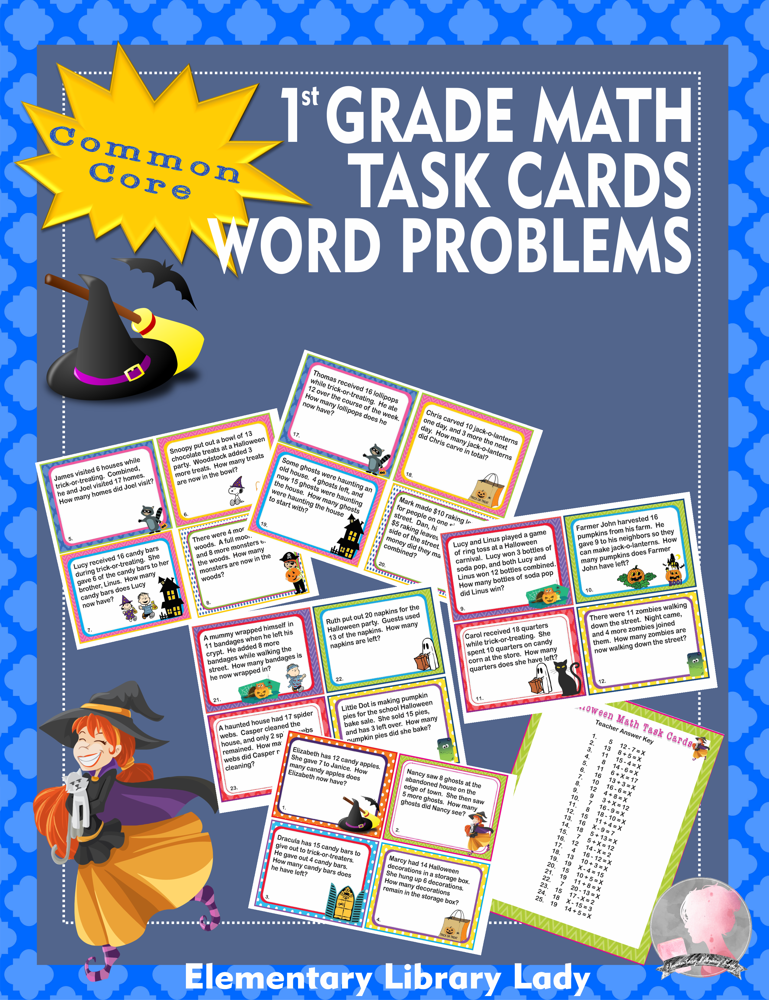 Halloween Math Word Problems Task Cards 1st Grade