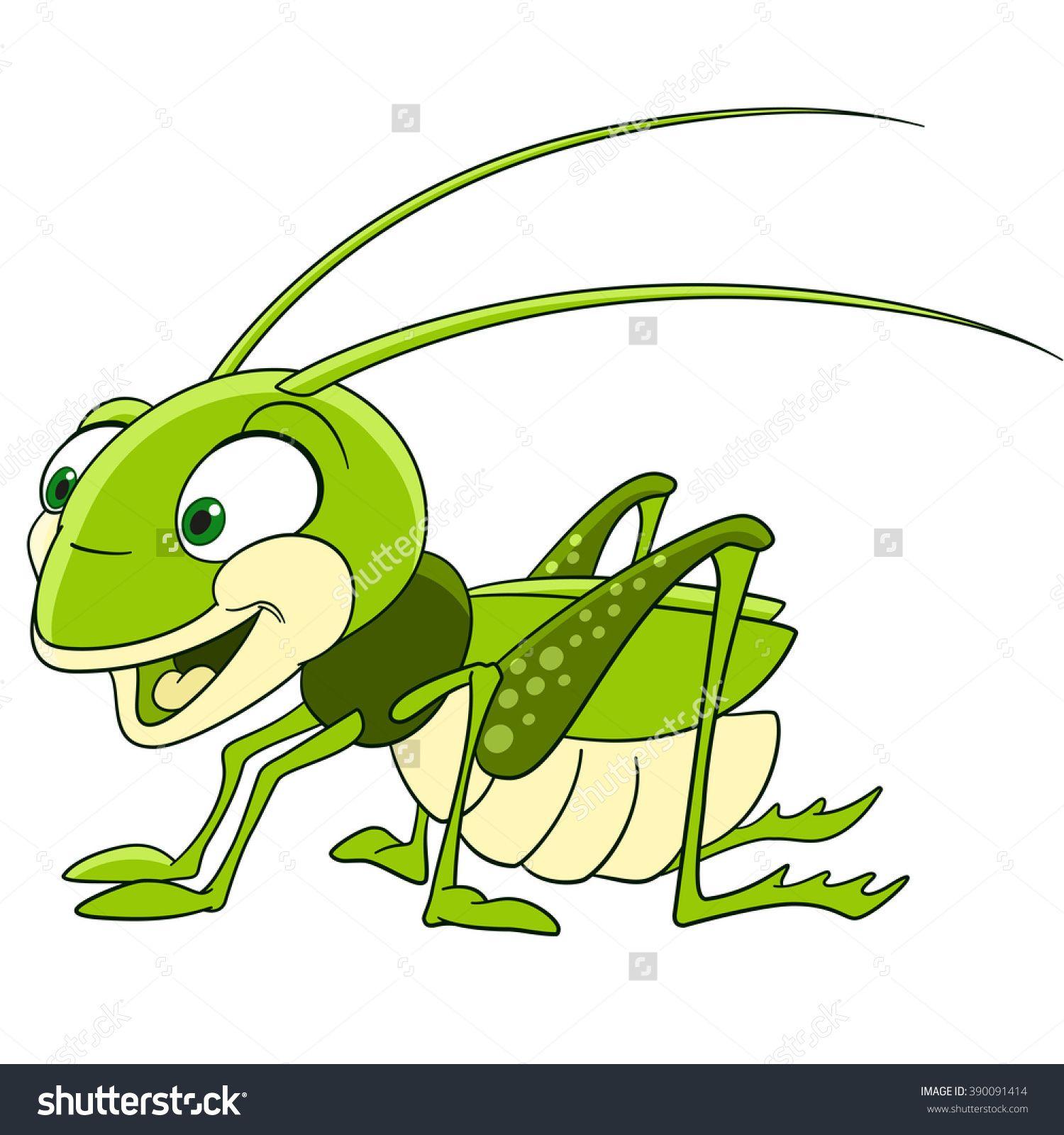 Cute And Funny Smiling Cartoon Grasshopper (Locust, Katydid ...