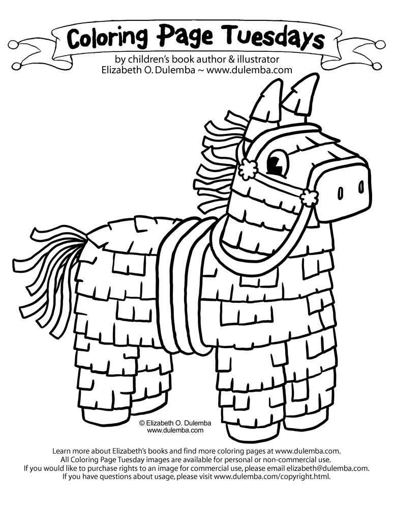 Coloring Page Tuesday Cinco De Mayo Pinata Kids Art Projects