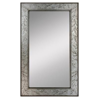 Deco Mirror 24 In X 36 In Olive Branch Mirror In Pewter