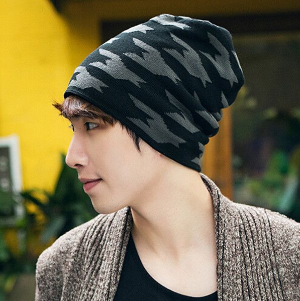 9f3a1a542d3 Houndstooth beanie hat for men outdoor knit winter hats