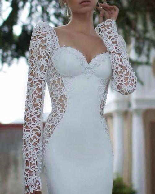 #wedding #dress #lace #white #beautiful