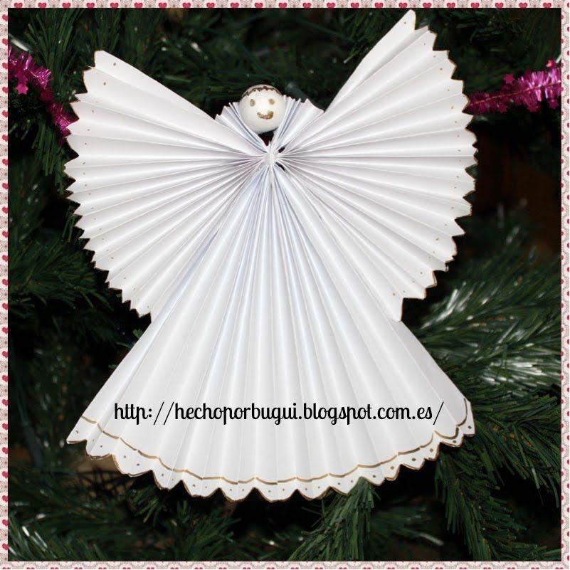 Como hacer un abeto y angel de papel decoraci n de - Decoracion navidad papel ...