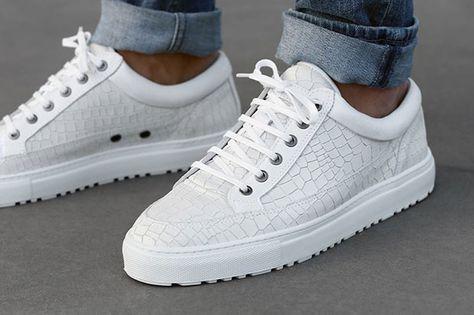 Extraordinary Blanc Chaussures Baskets Cuir Cuir Homme