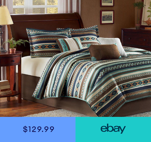 Southwest Turquoise Native American CAL King Comforter (7