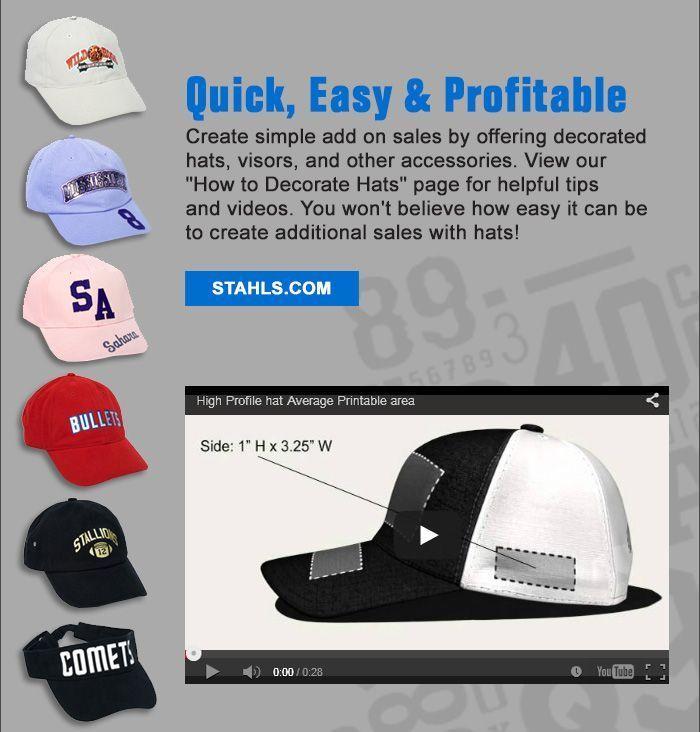 Hats Make Great Add On Sale Use A Cap Heatpress To Increase Your Sales Stahls Com And Stahls Ca Heat Press Designs Cricut Projects Vinyl Cricut Tutorials