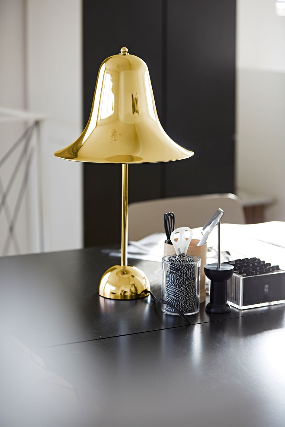 A verpan desk featuring the pantop table lamp desktop working verpan pantop table table lamps for indoor lighting light source exclusive geotapseo Image collections
