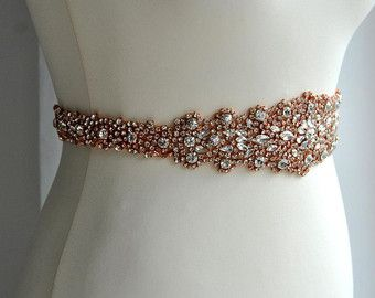 Rose Gold Crystal Luxury Bridal SashWedding Dress Sash Belt Rhinestone