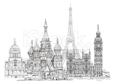 Sketch Of Famous Buildings Paris London Moscow Collection