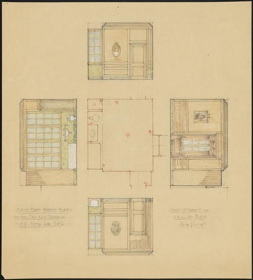 Francis Henry Lenygon 1877 1943 Drawing Of The Bathroom