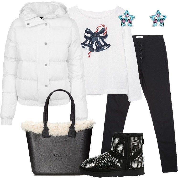 Outfit composto da piumino bianco 466715cba27