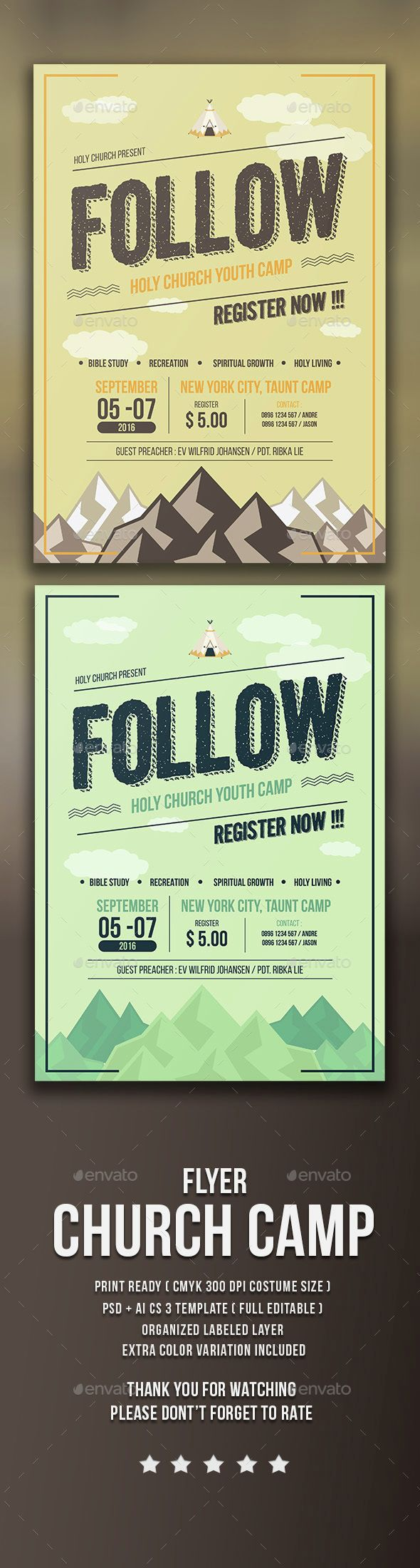 Church Camp Flyer Template PSD. Download here: graphicprime.com/...