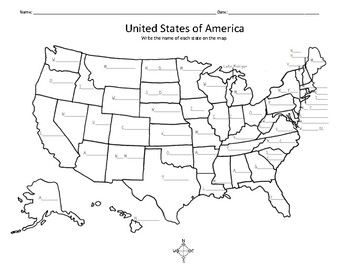 United States Map - Write the name of each state on the map ...