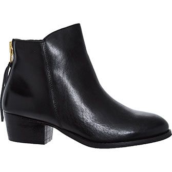 Black Leather Zip Ankle Boots