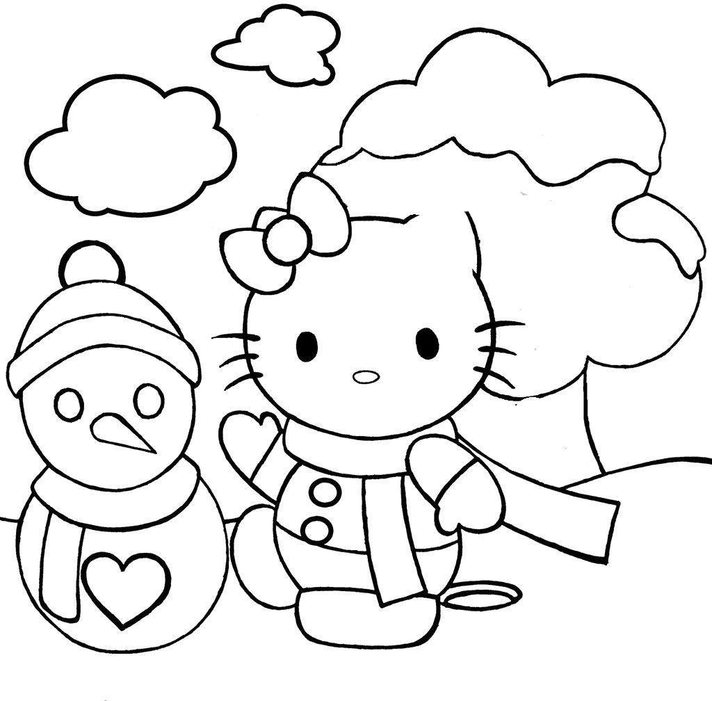 Hello Kitty And Christmas Snowman Coloring Pages