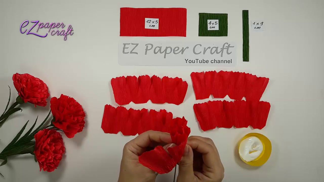 How To Make Paper Carnation Flowers From Crepe Paper Easy Diy Paper Fl Paper Flower Tutorial Paper Flowers Diy Paper