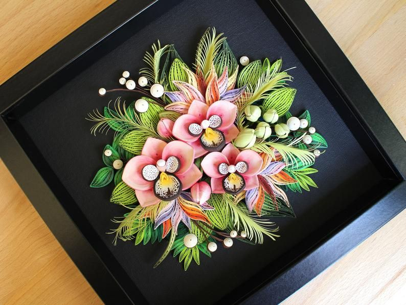 Photo of Paper Quilling Wall Decor Panel – Pink Orchids on Black Backgroun