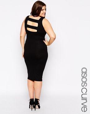 bb2e22312de ASOS CURVE Body-Conscious Dress with Strap Back Detail in Longer Length