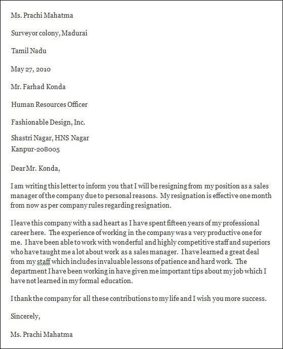 professional resignation letter sample  professional