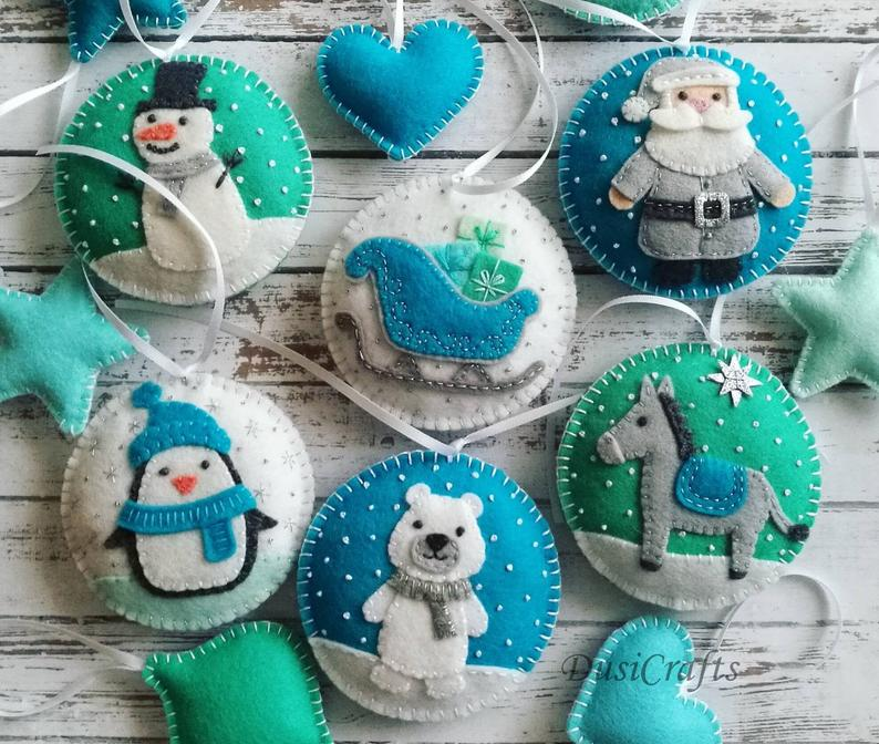Set of 6 Felt Blue Mint Christmas ornaments, Polar bear, Donkey, Penguin, Snowman tree decoration, Xmas Christmas decor / MADE TO ORDER #feltchristmasornaments