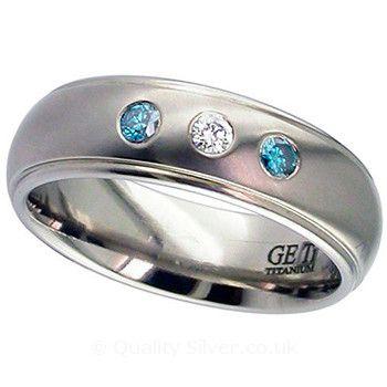 Geti Blue and White Diamond Titanium Ring