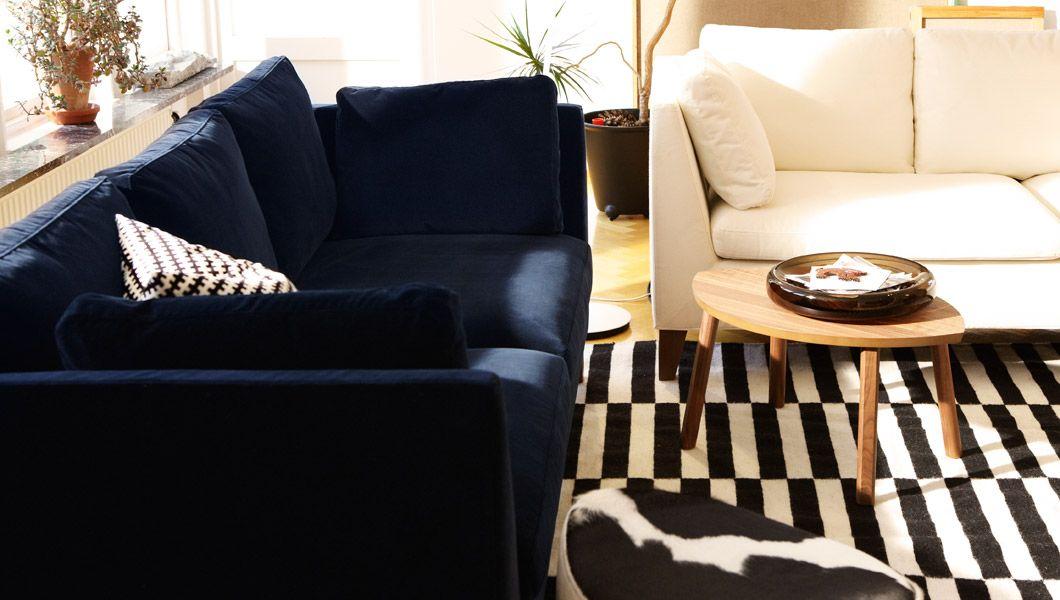 wohnzimmer eingerichtet mit produkten aus der stockholm kollektion u a stockholm 3er sofa bezug sandbacka - Schwarz Wei Sofa