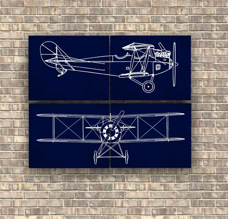 Airplane Prints set of 4 pieces, Nursery Art Decor, Wall ...