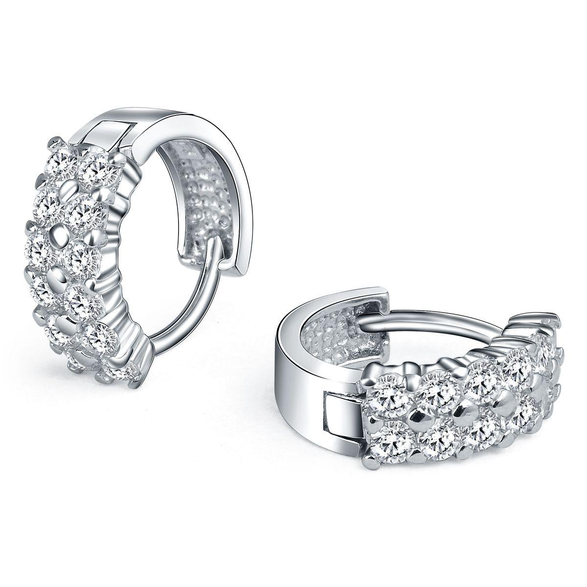 silver diamond hoop earrings see more amazing jewelry at goldenjewelrynet - Earring Design Ideas