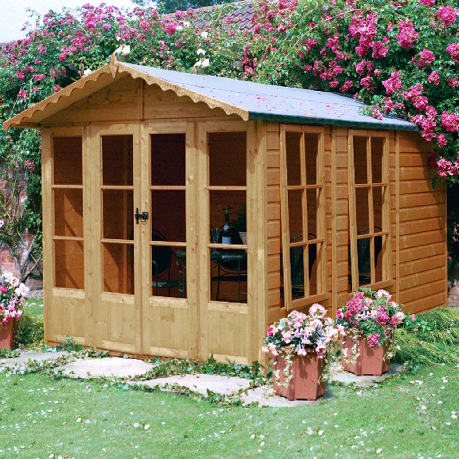 10X7 Kensington Shiplap Timber Summerhouse With Assembly 400 x 300