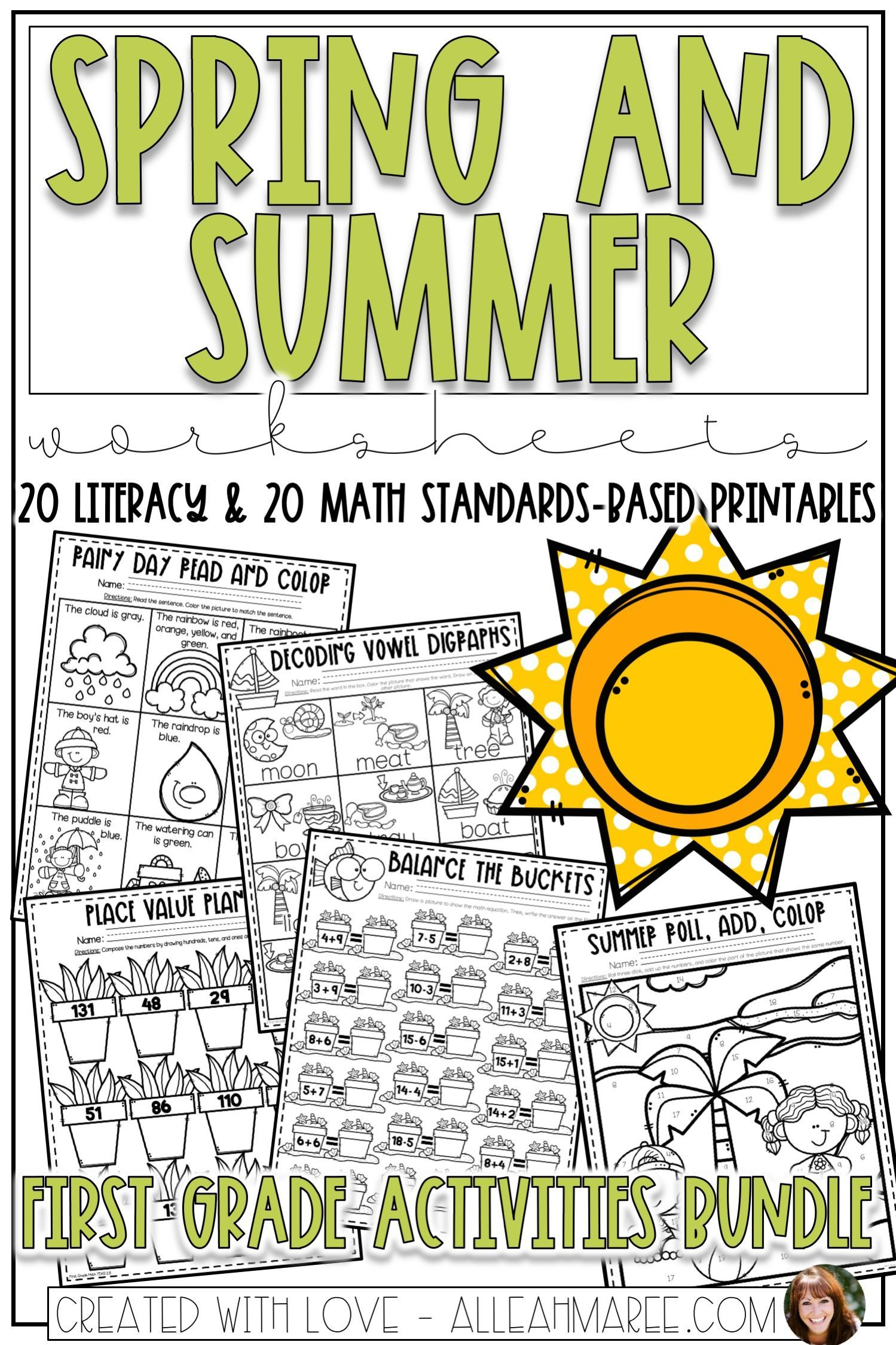 Spring Amp Summer Worksheets Bundle For First Grade