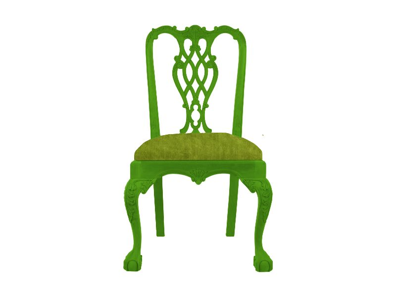 Formosa Chippendale Dining Chair Painted Green With Green Velvet Fabric.  Create Your Own Www.
