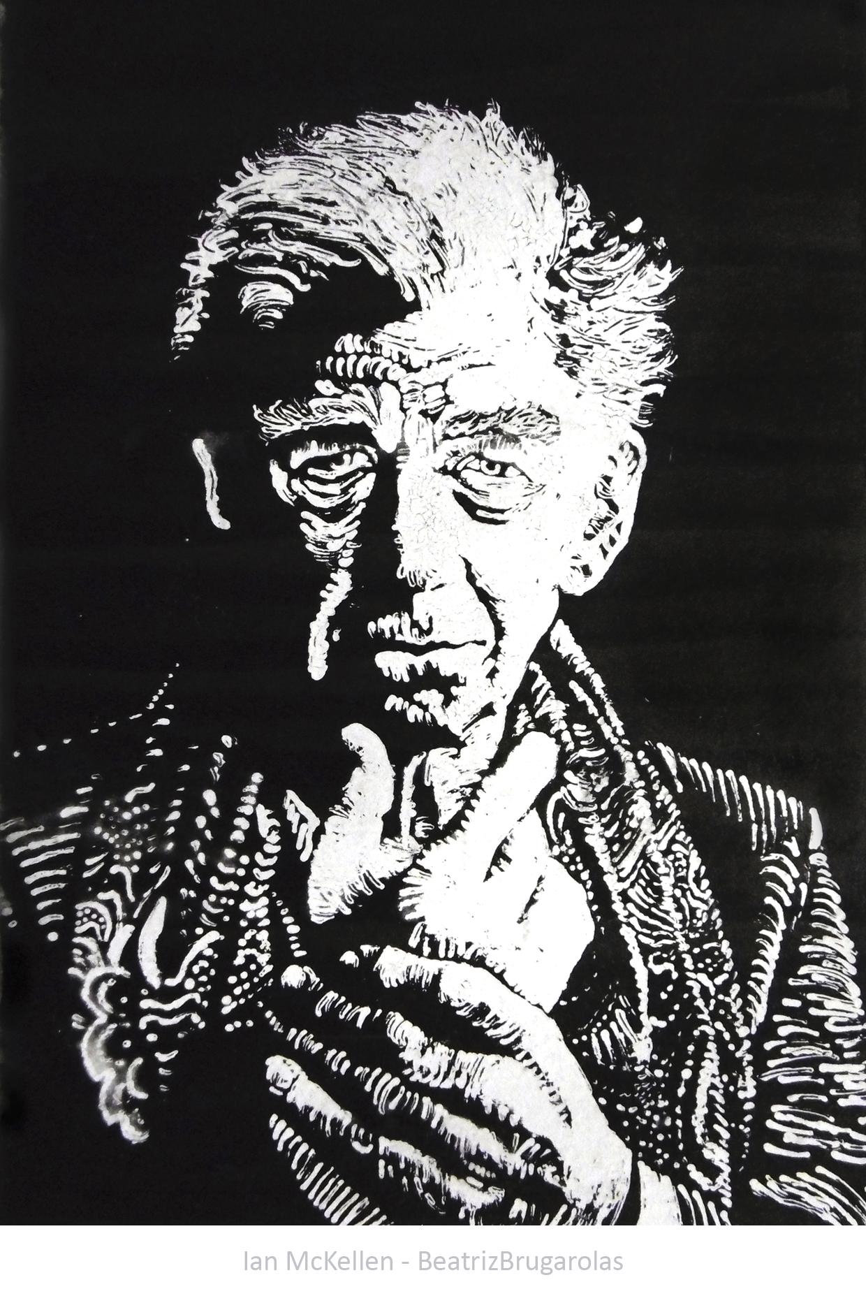 Sir Ian McKellen gouache and ink portrait